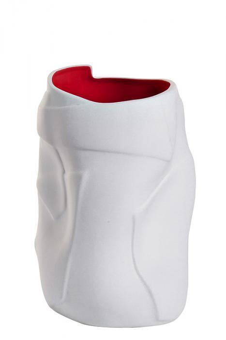 ваза керамическая (матовый белый снаружи матовый красный внутри)