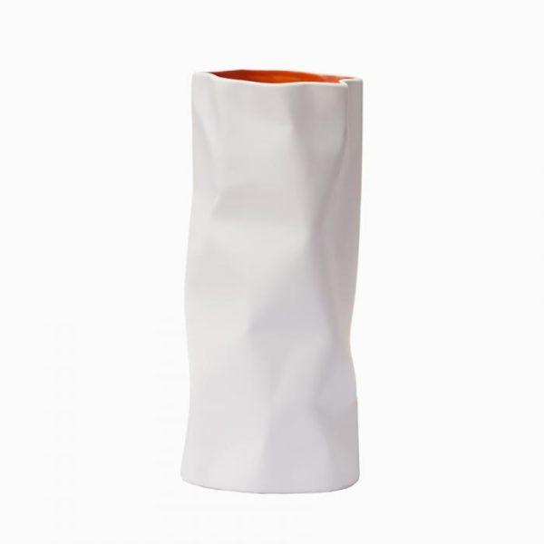 ваза керамическая (матовый белый снаружи матовый оранжевый внутри)