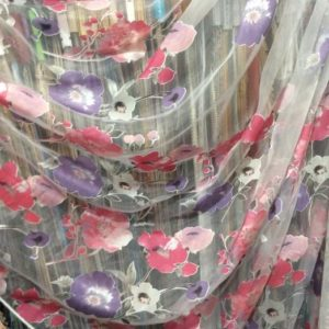 Тюль - органза печать сиренево-розовый