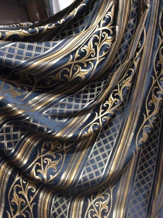 Портьера - золотисто-синяя