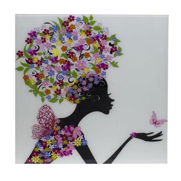 Панно стеклянное женщина с бабочкой